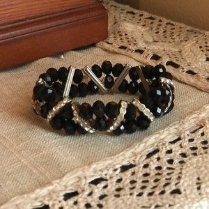 Accessories - Black beaded bracelet with rhinestoned details.